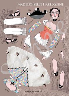 Mlle. Harlequine Miniature Jointed Paper Doll Kit