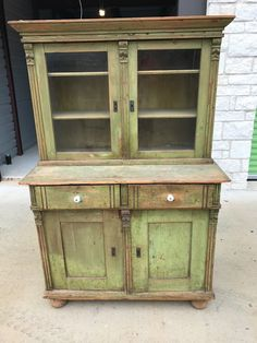 Primitive Antique Step Back Kitchen Cabinet / Cupboard Old Green Chippy  Paint. Rustic KitchenCountry Kitchen Primitive AntiquesRed AppleAntique  Furniture.