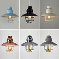 These stylish shades are a great way to update any living space, available in black, cream, duck egg blue, copper, chrome, cement effect and matt grey finishes. They feature a caged design which leaves the bulb exposed. | eBay!