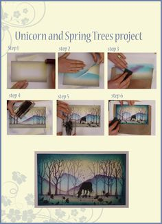 cardmaking photo turtorial ... make a scene with brayering and rubber stamps ... gorgeous ... stylized ... look like original art ... not stamps ...