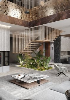 The punch card house - dezign ark beta Home Stairs Design, Modern House Design, Modern Interior Design, Stair Design, Modern Houses, Lobby Design, Villa Design, Design Design, Escalier Design