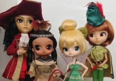 "Pullip Peter Pan Collection - Taeyang ""Captain Hook"",  Byul ""Tiger Lily"", Dal ""Tinkerbell"", and Pullip ""Peter Pan"""