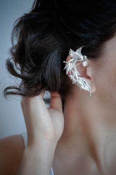 Custom ear cuff with bird and tropical flowers - sterling silver ear cuff - designer jewelry - modern jewelry - unusual wedding jewelry