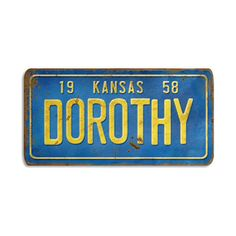 Kansas Dorothy License Plate Wood Art (270 BRL) ❤ liked on Polyvore featuring home, home decor, wall art, fillers, wood plates, wooden wall art, wood wall art, typography wall art and quote wall art