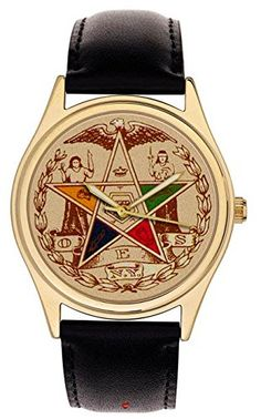 Order of the Eastern Star. Beautiful Vintage Masonic Parchment Art Dial Large Collectible Wrist Watch