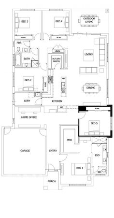 Boutique Homes- Barcelona 32 use bedroom as gym, add workshop? 4 Bedroom House Plans, Family House Plans, Best House Plans, Dream House Plans, House Floor Plans, Office Floor Plan, Home Design Floor Plans, Kitchen Floor Plans, Boutique Homes