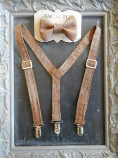 Boys Suspenders Bow Tie set Brown by bearandfoxdesigns on Etsy, $25.00