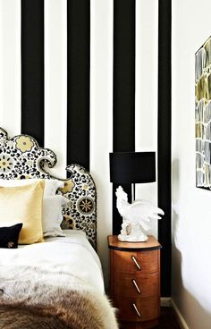 Black and white striped wall from Better Decorating Bible. Bedroom. Headboard. Design. Decor. Home.