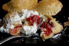 rhubarb and strawberry empanadas with whipped cream! MmMMMMMmmm!