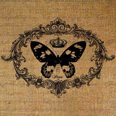 Digital Collage Sheet French Butterfly Crown Paris Digital Download Burlap Ornate Frame Fabric Transfer Pillows Totes Tea Towels 2115