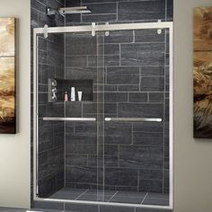 DreamLine Cavalier 56 - 60 in. W x 76 in. H Sliding Shower Door in Polished Stainless Steel Finish, As Shown Shower Remodel, Bath Remodel, Framed Shower Door, Frameless Sliding Shower Doors, Douche Design, Walk In Shower Designs, Shower Panels, Bathroom Ideas, Shower Ideas