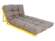 Multi Pallet com Futon Grande Origami - Amarelo Canário e Fendi