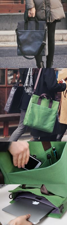 Classy and full of neat features, the Gentle Tote Bag is the one and only bag you'll need. It's luxurious & made with padding and a water resistant coating for extra protection for your devices. There (Water Bottle) My Bags, Tote Bags, Purses And Bags, Couture Cuir, Diy Sac, Pouch, Wallet, Fabric Bags, Handmade Bags
