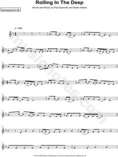 "Adele ""Rolling in the Deep - Bb Instrument"" Sheet Music (Trumpet, Clarinet, Soprano Saxophone or Tenor Saxophone) - Download & Print"