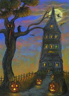 'Pumpkin Hill' halloween jack o'lantern crow witch cat art by Kathe Soave