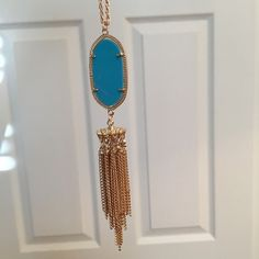 """🆑 Teal and Gold tassel necklace ✨Gold and teal tassel necklace✨ 18"""" neck length. ✨ GlamVault Jewelry Necklaces"""