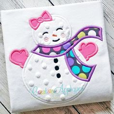"SNOWGIRL APPLIQUE MACHINE EMBROIDERY DESIGN 4 SIZES    INSTANT DOWNLOAD    Our sweet little snow girl is ready for the cold wearing her scarf, gloves and bow. Includes step-by-step color charts.    Fits hoop sizes: 4 X 4 hoop, 5 X 7 hoop, 6 X 10 hoop, and 8 X 8 (Fast Frame) or 9 X 9 (Durkee) hoops.  Approximate Applique sizes and stitches:  4 x 4: 3.88"" X 3.83""; 6856 stitches  5 X 7: 4.98"" x 4.91""; 8569 stitches  6 X 10: 5.84"" x 5.76""; 10,083 stitches  8 X 8: 7.47"" x 7.38""; 13,210 stitches…"