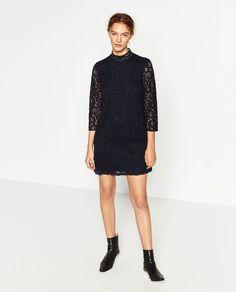 GUIPURE LACE SHIFT DRESS-NEW IN-WOMAN   ZARA