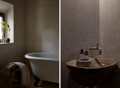 Rustic-luxe bathroom design at La Granja Ibiza, a Design Hotels retreat on a 16th century finca | Remodelista