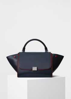 Small Trapeze Handbag in Smooth Calfskin with Piping - Céline