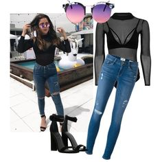 f3e8b03f839 A fashion look from April 2017 featuring Frame jeans, Kendall + Kylie  sandals en Topshop