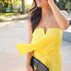 """LIKEtoKNOW.it on Instagram: """"Loving the notched top on @andeelayne's canary yellow strapless #LTKunder50 maxi. Extra points for it's dress up/dress down superpower 