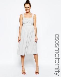 ASOS Maternity Slinky Ruched Bodice Midi Dress.