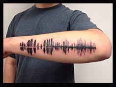 Black Pine tree silhouettes turning into soundwave tattoo