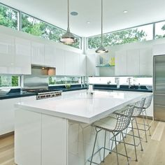 windows below cabinets and skylights above