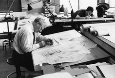 Louis Kahn working on Fisher House 1961 at UPENN