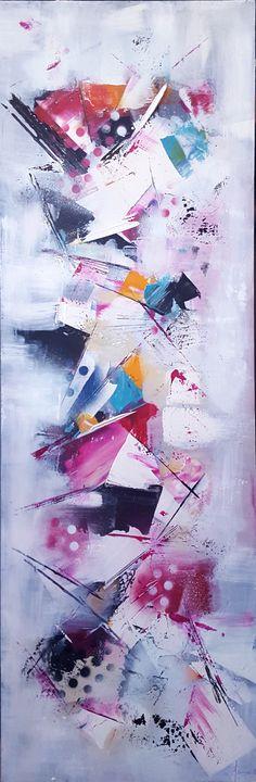 Peinture moderne acrylique multicolore sur panneau fibre de bois 34 x 102 cm : Peintures par stephanie-menard