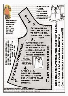 Free Fabric Doll Patterns | Sleeveless Jumper Pattern for American ...