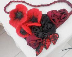 Mohn-Träume... Ein Lätzchen Style Halskette mit Vintage von SooSun