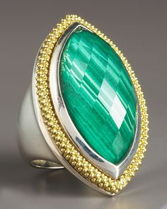 Malachite Ring, Large by Lagos at Neiman Marcus.  #NMFallTrends