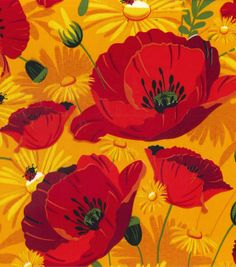 Simply Silky Prints-Poppies Daisy Ladybug Red at Joann.com