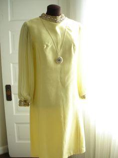 "Lemon Creme Pleated Chiffon Sleeve 1960 Dress with Jacket 40"" Bust"