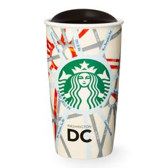 A double-walled, ceramic travel mug featuring the streets and neighborhoods of Washington, D.C. Part of the Starbucks Dot Local Collection.