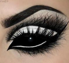 Interesting effect. Black eye makeup with black contacts.