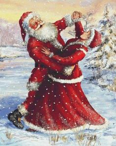 Holidays Christmas Cross Stitch Pattern, Santa and Mrs Claus Merry Christmas Images, Christmas Scenes, Vintage Christmas Cards, Christmas Cross, Christmas Pictures, Christmas Holidays, Christmas Decorations, Christmas Couple, Father Christmas
