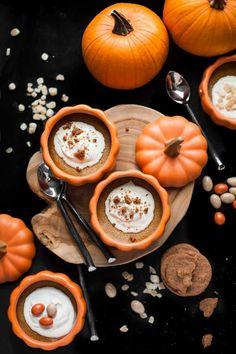 Baked Pumpkin Custards with Maple Mascarpone Whipped Cream (Gluten free) Pumpkin Custard, Baked Pumpkin, Pumpkin Puree, Pumpkin Recipes, Fall Recipes, Pumpkin Spice, Pumpkin Soup, Fall Wallpaper, Pumpkin Wallpaper