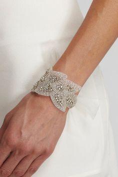 AUBREY - Rhinestone Beaded Bracelet - Tulle ties, crystal, bridesmaid gift, cuff, bridal, wedding, jewelry. $68.00, via Etsy.