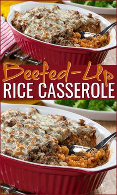 This all-in-one dinner is perfect for busy nights. In our Beefed-Up Rice Casserole you'll discover layers of beefy, cheesy, fill-ya-up goodness. Mr Food Recipes, Fun Easy Recipes, Rice Recipes, Easy Meals, Cooking Recipes, Beef Casserole Recipes, Ground Beef Casserole, Rice Casserole, Healthy Ground Beef