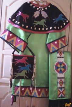 Pow+WoW+Regalia+for+Sale   Ladies Green Satin Outfit For Sale - Trading Post - Native American ...