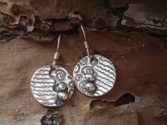 Small Fine Silver Abstract Dangles  PMC Earrings  by Silvermaven, $33.00