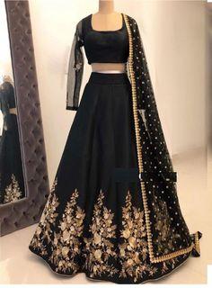 Black Color Taffeta Silk Embroidary Work Designer Lengha Choli