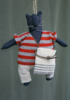 Dark Blue Cat with a bag (handmade doll). $47.00, via Etsy.