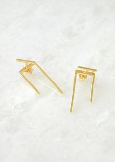 Bar and U layer earring - Gold Gold Earrings, Jewellery, Bar, Gold Stud Earrings, Gold Pendants, Jewels, Jewelry Shop, Schmuck, Jewelery