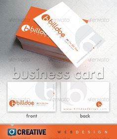 Clean Two Color Business Card - White & Orange