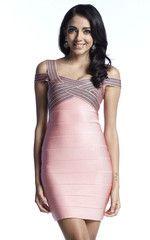 Pink & Black Cross Bust Bandage Dress