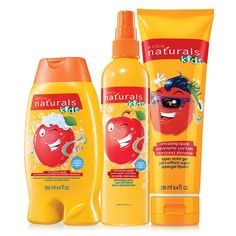 Naturals Kids Amazing Apple 3-Piece Bath Set. They'll love bath time with the amazing scent of apple! A $15 value, the set includes:Shampoo & Conditioner – 8.4 fl. oz. A $5 value.Detangling Spray – 8.4 fl. oz. A $5 value.Super Stylin' Gel – 8.4 fl. oz. A $5 value. Item# 513-247. www.youravon.com/tanikaparson